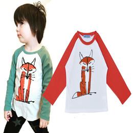 camisa alaranjada dos meninos Desconto Ins moda algodão animal T-shirt roupa do miúdo manga comprida preto verde laranja Tops bebê criança Fox 3 cores menino menina Bonito Preppy Terno 0-5 T