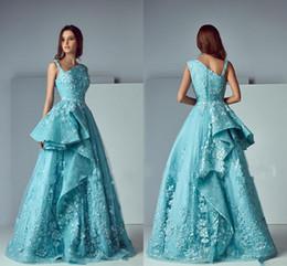 Wholesale Short Long Skirt Evening Dress - Saiid Kobeisy Ruffles Lace Skirt Prom Party Dresses 2017 Modest Tiffany Blue Applique Stain Dubai Arabic Occasion Dresses Evening Wear