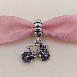 Wholesale Bike Jewelry Silver - Authentic 925 Sterling Silver Beads Bicycle Pendant Charm Fits European Pandora Style Jewelry Bracelets & Necklace 791266 bike sports gift