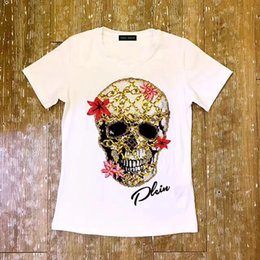 Wholesale T Shirt Women Colorful - 2017 summer women's women's wear is a pure cotton round collar with colorful skull and head style T-shirt
