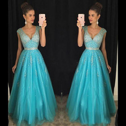 Wholesale Turquoise Empire Dress - Turquoise Bead Sequined Evening Dresses A-Line Deep V Neck Backless Formal Party Gowns Plus Size Floor Length Prom Dress Custom Made