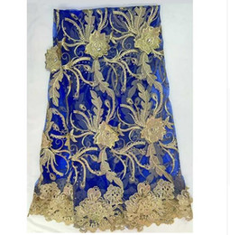 Wholesale Swiss African Lace Fabric Wholesale - LM-17 Hot Big stone french Gold line lace!High quality African tulle mesh lace fabric for dress,swiss voile net lace 5y lot