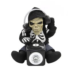 Wholesale Skeleton Table - Wholesale-Battery Operated Sound Activated TalkBack Animated DJ Skeleton 27 CM Tall Spooky Halloween Table Decoration Fun Novelty Toys
