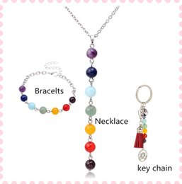 Wholesale Hand Shaped Pendants - 1set lto Hotselling Rainbow natural stone pendants necklace silver hand chain+key rings agate Y-shape Strands gifts for Friends
