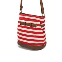 Wholesale Girls Red Checked Dresses - Striped Design Women Bag Canvas Women Messenger Bags Fashion Crossbody Shoulder Bag Female Bucket Bags Girls Handbag