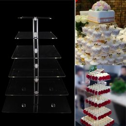 Wholesale Acrylic For Wedding Cake Stand - Wholesale- DHL EMS Free! 6 Tier Crystal Clear Acrylic Square Cupcake Stand for Wedding Birthday Event Party Cake Decoration Product Supply