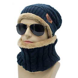 Wholesale Winter 2pc - 2pc set Hats & Scarves Sets Warm Men Winter Hats Collars Beanie Hat Knitting Wool Hat Knitted Caps Outdoor Sport Warm