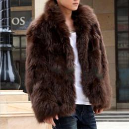 Wholesale white coat fur - New Faux Fur Men's Coat Version Fashion Fox Fur Coat Winter Warm Man's Outwear Size S-XXXXL