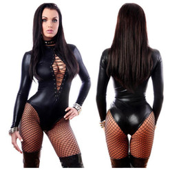 Donne s bodysuits online-Tuta da donna Nero Abiti in pelle sexy Maniche lunghe Tute Erotic Body Latex Catsuit Costume 2017 dongguan_wholesale in stock