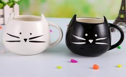 Wholesale Wholesale Pottery Tea Cups - Novelty Cute Cat Animal Milk Mug Ceramic Creative Coffee Porcelain Tea Cup
