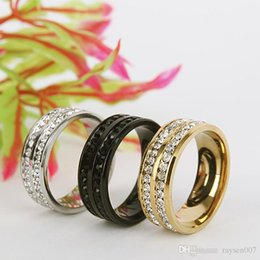 Wholesale Wholesale Row Ring - Free shipping 3 colors Crystal Rings For Women and men Two Rows diamond Rings Trendy Stainless Steel Wedding Rings Jewelry wholesale