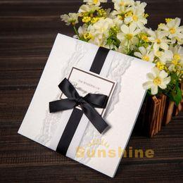 Wholesale Personalised Invitations - Wholesale- Personalised Handmade Luxury Wedding Day Invitations Ribbon & Lace Wedding Cards For Bridal Shower Birthday Free RSVP & Envelope