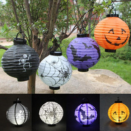 Wholesale Paper Lanterns Bulbs - LED Halloween Pumpkin Lights Lamp Halloween Paper Lantern Spiders Bats Skull Pattern Decoration LED Battery Bulbs Ballons Lamps for Kids