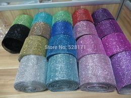 "Wholesale Diamond Mesh Roll Rhinestone - Wholesale-Free Shipping 5yards x 4.5"" wide 18Colors Diamond Mesh Wrap Roll Rhinestone Crystal Looking Ribbon Trim Wedding Party Decoration"
