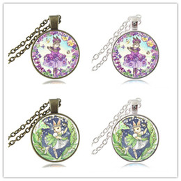Wholesale Ballerina Charms - Ballerina Bunny Necklace Rabbit Photo Pendant Butterfly and Flower Jewelry Glass Cabochon Silver Bronze Sweater Chain Necklace Charm Gifts