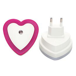 Wholesale Wholesale Heart Shaped Plugs - Wholesale- ITimo Heart Shape LED Night Light Wall Lamp Bedroom Decoration Light Sensor Cute Bedside Lamp EU Plug Nightlights