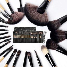 Wholesale 24 Brushes Pink - Wholesale Professional 24 pcs Makeup Brushes Set Charming Pink Black burlywood Cosmetic Eyeshadow Brushes with leather pouch