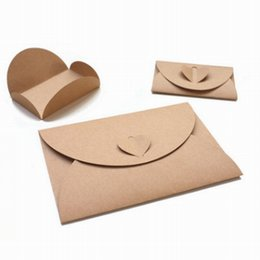 Wholesale Wholesale Mini Kraft Paper Bags - Wholesale- DHL Free Shipping,Wholesale 500pcs lot Handmade Brown Paper Bag Mini Envelope Heart Kraft Vintage Envelopes Retro Stationery