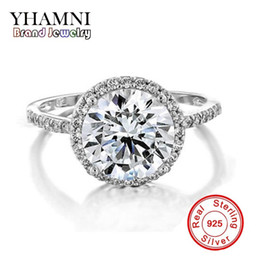 stamped 925 jewelry sets Promo Codes - Luxury Real 925 Sterling Silver Jewelry Ring With S925 Stamp 2 Carat SONA CZ Zircon Wedding Rings For Women J29Y