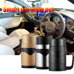 Wholesale 12v Coffee - 2017 New arrival 1200ML 12v Car kettle Car Stainless Steel 304 Travel Holder Mug Electric Thermos para Coffee&Tea&Mat&Soup Cup Auto Adapter