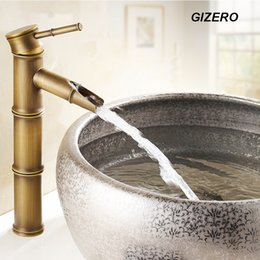 Wholesale Single Hole Cold Water Faucet - Wholesale- Bathroom Bamboo Faucet Antique Finish Copper Sink Mixer Tap Deck Mounted hot and cold water bambu taps ZR135