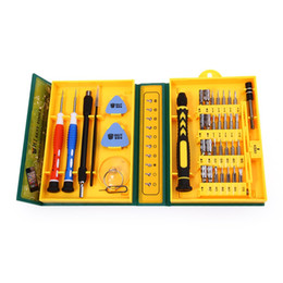 Wholesale Tool Box Screwdriver Set - Wholesale-38 in 1 Precision Multipurpose Screwdriver Set Repair Opening Tool Kit Fix with Box Case For iPhone  laptop  smartphone  watch