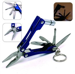 Wholesale Mini Utility Knives - 6-IN-1 Multifunction Tools Pocket Mini Pliers With Flashlight Metal Folding Pliers Outdoor Camping Utility Knife Keychain Screwdriver+Bag