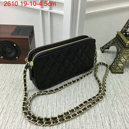 Wholesale Metallic Clutch Bags - Women Handbags lambskin Mobile Phone Bag Designer Clutch Bags Double Zipper Shoulder Bag mini 19cm Caviar Leather Handbags Purse 2610