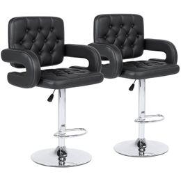 conjunto giratorio Rebajas Set de 2 pu silla giratoria ajustable de altura regulable en cuero de poliuretano - negro