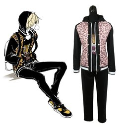 Wholesale Yuri Costume - Yuri on Ice Yuri Plisetsky Cosplay Coat Yuri!!! on Ice Leopard Tiger Sport Costume Coat Hoodies Pants Uniforms Set