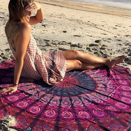 Wholesale Compressed Cloth - Beach Towel Round Mandala Tapestry Hippie Table Cloth Creative Bohemian Shawl Sunbath Body Wrap Yoga Mat Picnic Blanket 23md F