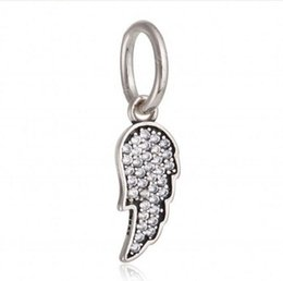 Wholesale Diy Jewelry Feathers - Pave AAA CZ Angel Wing Charms Pendants Beads Authentic 925 Sterling Silver Jewelry Dangle Feather Beads For DIY Brand Bracelets Accessories