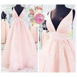 Wholesale Imported Photos - Real Photos Pink Prom Dresses Sexy 2017 Deep V-Neck Open Back Girls Imported Party Dress A-Line Evening Gowns