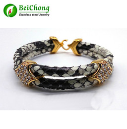 Wholesale pythons snakes - BC Fashion Python Skin Snake 5MM Men with Silver Stainless Steel BOX Circle Bangle Bracelet For Watch Gift