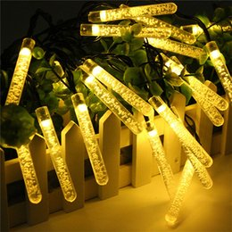 Wholesale Xmas Icicles Lights - 6M 30 LED Picks Solar string lights Air bubbles Fairy Icicle light solar garden light for Christmas Xmas Party Decorations