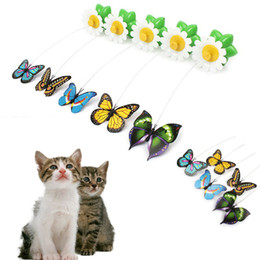 Wholesale Popular Electric - 2017 New Pc Random Color Popular Electric Rotating Butterfly Cat Toys Kitten Funny Pet Supplies Direct Factory Price Top Quality