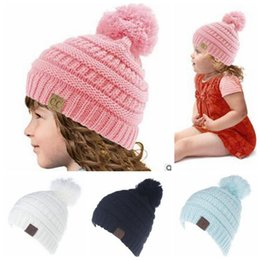 Wholesale Crochet Oversized Hat - CC Knitted Hats Kids CC Trendy Pom Poms Beanie Chunky Skull Caps Winter Cable Knit Slouchy Crochet Hats Fashion Outdoor Oversized Hat B3315