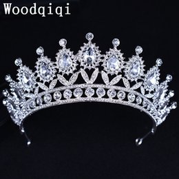 Wholesale Beauty Pageant Tiaras - Woodqiqi Large Contoured Tiara Brides Crown Austrian Rhinestone Beauty Contest Hair Jewelry Wedding Parade Pageant Prom