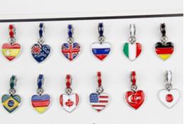 Canada Convient Pandora Bracelet en argent Sterling 13 style drapeaux nationaux émail pendentif perles breloques pour la chaîne de charme serpent européen mode bricolage bijoux Offre