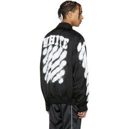 Wholesale Men S Zip Jackets - Off-White Black Diagonal Spray Varsity Jacket New Winter Bomber Jackets Long Sleeve Zip-Up Hip Hop Coats Kanye West MA-1 Jacket PXG0704