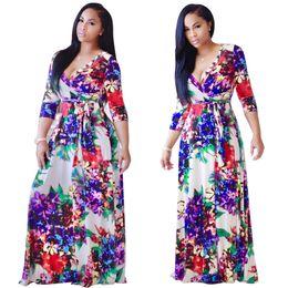 Wholesale Ladies Fashion Dresses Maxi - Hot Fashion Elegant Women Maxi Long Dress Slim Boho Dresses Floral Printed Bandage Casual Beach Summer Ladies Sexy Deep V Dress