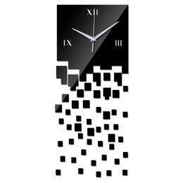 Wholesale Digital Wall Clocks Wholesale - Wholesale- 2015 new arrival home decoration acrylic mirror wall clock safe modern design large digital quartz watch sticker freeshipping
