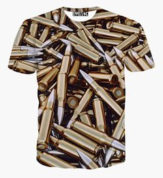Wholesale Vintage Style T Shirts - New Summer men Fashion Golden Vintage Harajuku Style Bullet Pattern 3D Print T Shirt Summer Novelty Top tshirt casual t shirt