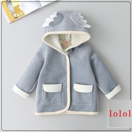 Wholesale Cute Style Babys Girls - Girls Angel Wings Hooded Coats Korean Cute Princess Winter Cotton Outerwear Coats High Quality Coats For 2-7year Babys