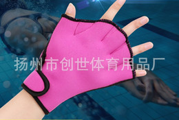 Wholesale Webbed Swimming Gloves - Hand Swimming Fins Swim Gloves Hand Webbed Duck Webbeds Water Palm Diving Fin Swimming Equipment Colorful 9 2cs