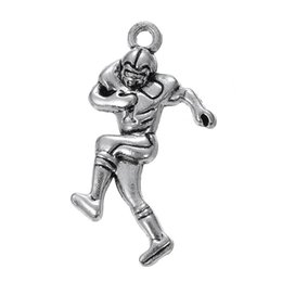 Wholesale Antique Jewelry Football - Antique Silver Plated Football Player & Ice Hockey Player Double Sides Sport Charms Fit Sport Jewelry DIY Making 100Pcs lot