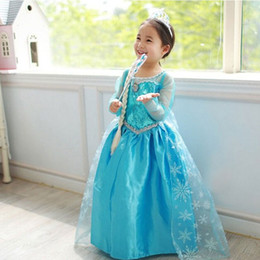 Wholesale Dress Ribbon Baby - High Quality Girl Dresses Princess Children Clothing Anna Elsa Cosplay Costume Kid's Party Dress Baby Girls Clothes