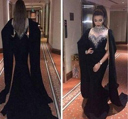 Wholesale Evening Dresses Haifa - 2017 Haifa Wahbe Beaded Black Evening Dresses Sexy Cape Style Latest Mermaid Evening prom Gowns Dubai Arabic Party Dresses Real Pictures