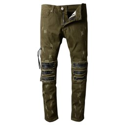 Wholesale Military Biker Patches - free shipping Men's military green pleated biker jeans for motor Casual PU leather patch ripped stretch denim pants