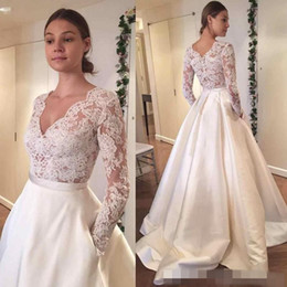 Wholesale Long Skirt Boho - 2016 Vintage Lace Wedding Dresses Long Sleeve Lace Applique A Line With Pocket Plus Size Satin Country Style Boho Bridal Wedding Gowns